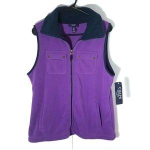 Chaps purple fleece collared pocket vest